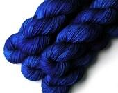 Worsted Handdyed Merino Cashmere Nylon Yarn - Blue Flame, 200 yards