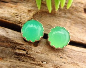 Non-Faceted Chrysoprase Earrings, B Quality, Real Gems in Sterling Silver, 4mm - Free Gift Wrapping