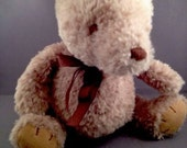 "Classic Winnie the Pooh Bear Plush with Brown Bow Doll Soft Toy Corduroy 9"" EUC"