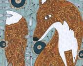 The Secret Visitor, Fox, Animal, Garden, Whimsical Art Print