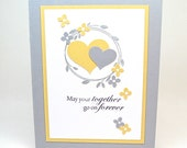 yellow and gray wedding card - together forever bridal shower card - pair of hearts wedding card - unique wedding card