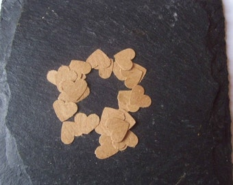 SUMMER SALE Set of 1000 brown kraft paper mini hand punched die cut hearts for scrapbooking, cardmaking...
