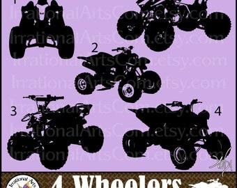 4 Wheelers Silhouettes set 2 - 5 EPS & SVG Vinyl Ready Images and 5 PNG clipart graphics files AtV vehicles [Instant Download]