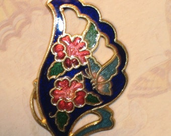 Beautiful Floral and Butterfly Royal Blue Cloisonne Pendant