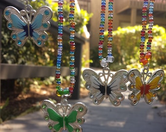 Butterfly Necklace, Summer Necklace, Love Beads, Butterfly Charm, Summer Beads, Hippie Love Beads, Hippie Necklace, Woodstock, Coachella