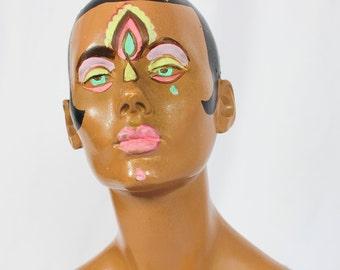 60s Hand Painted Female Half Mannequin