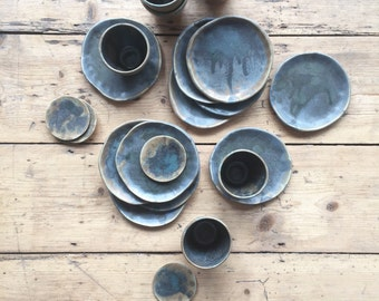 Small Blue Charcoal Plates