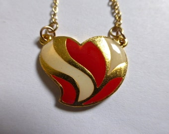 Multiple Colors of Vintage Gold Plated Brass and Enamel Heart Shaped Pendant / Necklace with Chain  20x24mm (1)