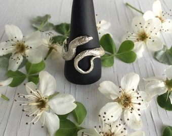Snake Ring in Sterling Silver, Organic Snake, Natural Snake Ring, Ourboros Ring, Snake Jewelry, Handmade in my Austin TX studio, Realistic