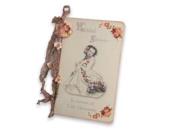 Bridal Shower Guest Journal, Shower Gift Registry, Pink Roses Journal, Personalized Bridal Shower Journal, Garden Wedding Guest Book