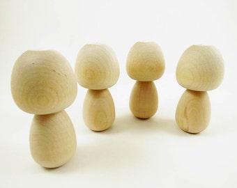 Kokeshi Dolls - Peg Dolls - Big Head Dolls - Unpainted - Unfinished Kokeshi - Ready to Paint - Wood Toy - Set of 4