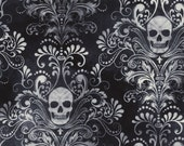 SKULL DAMASK CHARCOAL Wicked Eve Printed Cotton Quilt Fabric by the Yard, Half Yard, or Fat Quarter Fq Halloween Black Grey Skulls Gothic