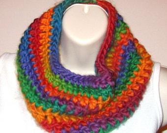 Soft Chunky Cowl -- Intense Rainbow - Crocheted with Merino Wool/Nylon Yarn -- SOFT!  (SC005)