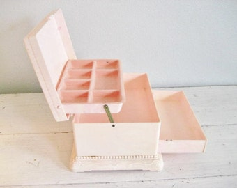 Vintage Pale Pink Acrylic Jewelry Box