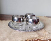 Vintage silver ombre fade roly poly glasses tumblers three small on a small silver plate tray Dorothy thorpe style stemless wine glasses