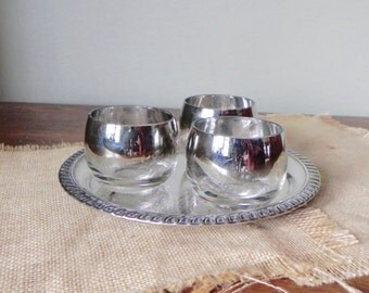 Vintage silver ombre fade roly poly glasses tumblers three small on a small silver plate tray