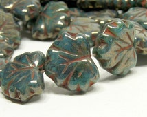 Persian Green Turquoise Maple Leaves 10x13mm Brick accents Luster Coating