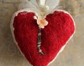 Love Me Red Wool Millinery Heart Valentine - Sweet Handmade Original Valentine Heart Decoration - Red Needle Felted Heart with Vintage Trims