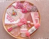 Vintage Sewing Notions Lot Pink Inspiration Embellishment Kit Lace Trims Yo Yo Quilt Scrapbooking Collage