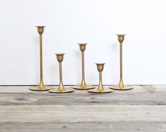 Graduated Modern Tulip Base Brass Candlesticks (Set of 5)