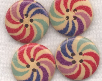 Pinwheel Swirl Buttons Decorated Wooden Buttons 24mm (1 inch) Set of 8 /BT02