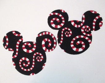 "Mickey and  Minnie Mouse Iron On Appliques Large 7"" Holiday"