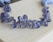 Iolite Gemstone Briolette Faceted Teardrop Pear Top Drilled 10 to 13mm 10 beads