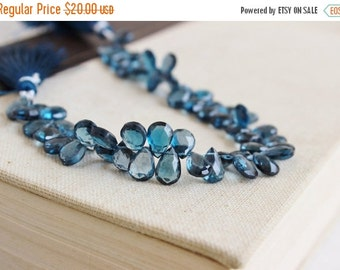Mega SALE Outrageous London Blue Topaz Briolette Faceted Pear TearDrop 6 to 6.5mm 8 beads