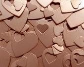 "Copper Heart Pendants - Qty 3, 1 1/4"", Bopper, Copper Heart Washers, Pendants, stamping blanks, metal stamping blanks, heart blanks"