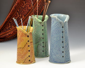 Vase with Buttons Knitting Needle Organizer inspired by farbics embroidery by Creative with Clay Charan Sachar