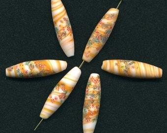Vintage Millefiori Beads Orange & White Swirl 15mm x 7mm Oblong Matte Finish Made in Japan