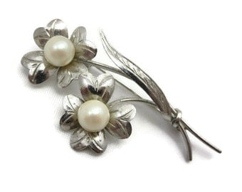 Sterling and Pearl Brooch - Flowers