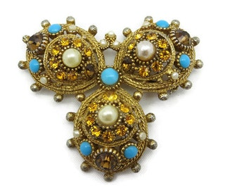 Nina Ricci Jewelry - Rhinestone Brooch, Topaz Turquoise Pearls, Vintage Costume Jewelry, Paris
