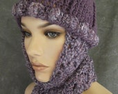 Accessory,Women,Hats,Scarves, OOAK ,Hat and Scarf Set,Purple,Skull Cap,Large,Winter hats