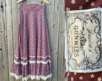 "Vintage GUNNE SAX Skirt  //  Vtg 70s Jessica's Gunnies Burgandy Calico Lace Tiered Prairie Revival Maxi Skirt  // 27"" waist"