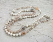 Long Hand-Knotted Rope Necklace - Gemstones and Pearls- Snow on the Beach - Item 1501