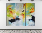 Abstract Painting, Large Abstract Art Painting on Canvas, Contemporary Art Hand Painted Abstract Painting, Yellow Green blue, huge triptych