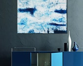 Original Blue abstract painting, Blue Painting  Blue Abstract Art, Blue textural art,blue textural painting,blue and white painting