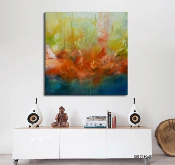 Blauw en goud schilderen op doek abstracte kunst rood blauw