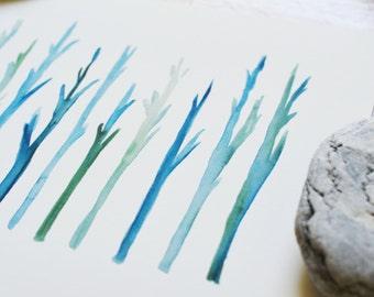 Blue Stems - Watercolor Art Print - simple, plants, flowers, botanical, garden, blue