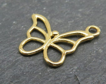 Gold over 925 Sterling Silver Butterfly Charm 15mm (CG7773)