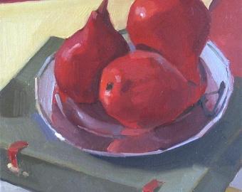 "Art painting fruit still life ""Three Red Pears"" Framed original oil by Oregon artist Sarah Sedwick 8x8"""