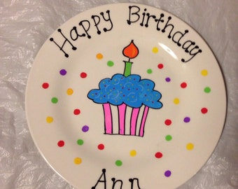 Happy Birthday Personalized Hand Painted Ceramic Plate Serving Plate Gift Plate Gift for Children