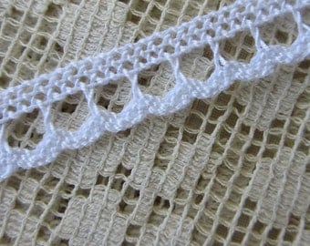 Italy 2 Yards Vintage Cotton Edging Woven Sewing Trim White  IT 71