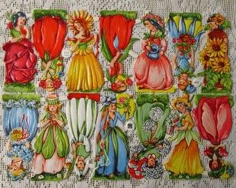 Vintage EAS Germany Die Cut Paper Scraps Colorful Flower Girls  EAS 3101