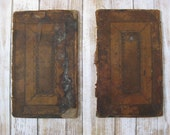 Antique 1740s leather book boards blind tooled leather book boards for your altered art