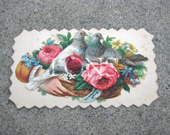 Victorian Calling Card Dove Rose hand  SWEET REMEMBRANCE hidden name salesman sample antique calling card No2