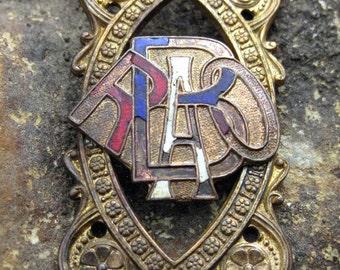 Vintage RAOB Antediluvian Order of the Buffalo Enamel gorget link brass no 1