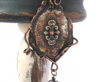 Original OOAK Rustic copper pendant with bead dangle free form rusty tin etched copper