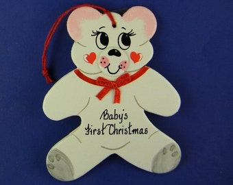 0006 Pink bear shape. Free shipping. Message shown is a suggestion. Ornaments can be written with a message/name/date of your choice.